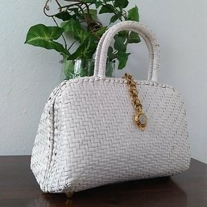 VINTAGE Vanessa Top Handle Woven Rattan Hand Bag